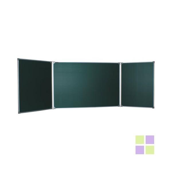 Трехэлементная для мела магнитная(100х150/300 см), 5 рабочих поверхностей, зеленая
