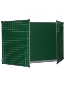 100х150/300 см Трехэлементная для мела магнитная, ЛИНИЯ/КЛЕТКА, 5 рабочих поверхностей, зеленая
